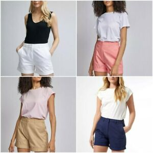 Dorothy Perkins Women's 100% Cotton Turn Up Chino Shorts Size 8 - 20