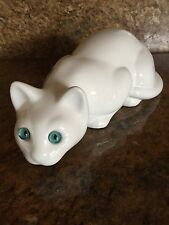 Large Ceramic White Cat Blue Glass Eyes ELPA Alcobaca Portugal Vintage Rare