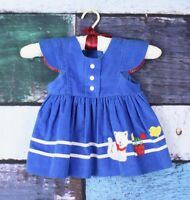 Vintage Baby Girl 12 Months Blue Corduroy Kitty Cat Embroidered Jumper Dress