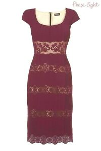 🎀 Phase Eight Berry Lace Bodycon Dress Party Pencil Wiggle Dress 10 rrp £150