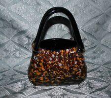 Hand Blown Murano Style Decorative Art Glass Purse/Vase, Multi Colored Speckled