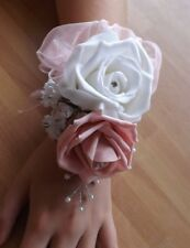 Wedding flowers wrist corsage white/baby pink rose&button hole baby pink rose