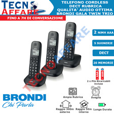 Telefono Cordless Trio Dect Identificatore Chiamata Brondi Gala Trio Nero