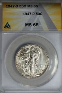 1947-D .50   ANACS   MS 65   Walking Liberty, Half Dollar, Lady Liberty Half