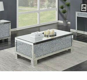 NEW Mirrored Coffee Table Diamond Crystal Living Room Crushed Diamond Furniture