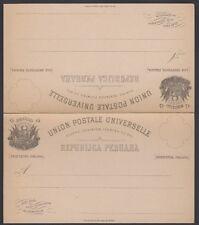 PERU, 1883. Double Post Card  H&G 5, Mint
