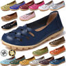 Womens Leather Casual Oxfords Flats Ballet Loafers Boat Slip On Breathable Shoes