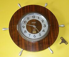 Vintage pendule murale BAYARD Barre à roue / Déco marine / Clock 8 jours / 1950
