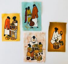 4 Small Paintings on Cloth Folk Designs from West Africa People at Market