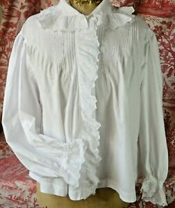 Pure crisp cotton blouse early 1900 broderie anglaise scalloped frills pin tucks