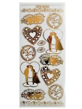 EMBOSSED GOLD VALENTINE LOVE Peel Off Stickers Card Making Hearts Kiss Lips