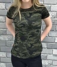 Ladies Green Camo Print T-Shirt / Top BNWT Brave Soul