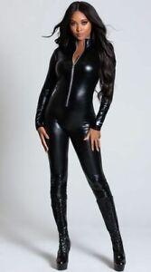 Black wet look catsuit fancy dress cat woman club wear size UK 10