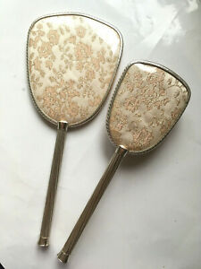 Vintage Dressing table set two pieces: hand mirror and hair brush 27 & 30.5 cms