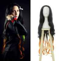 Demon Slayer Kamado Nezuko Cosplay Wig Black Orange Long Gradient Wave Hair