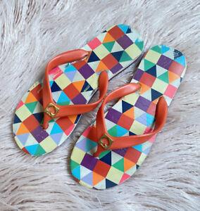 Kate Spade Women Colourful Geometric Thongs Sandals Sz US5-6