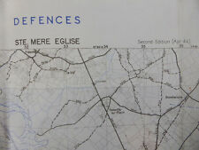 US Army defences Map Normandia Sbarco scheda ste. mere Eglise 1944 CARTINA