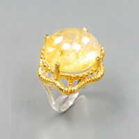 Handmade Natural Ghost Quartz 925 Sterling Silver Ring Size 7/R122374
