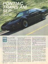 1991 Pontiac Firebird Trans Am GTA SLP Road Test Update Article - Must See !!