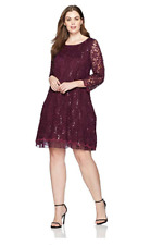 NEW Tiana B Women's Plus Size Lace a-Line Dress, Eggplant, 20W Sequined Lace