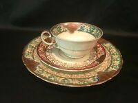 SCHOENAU Tea Cup with Saucer Dessert Plate - Set of 3 pieces Gold Green Red
