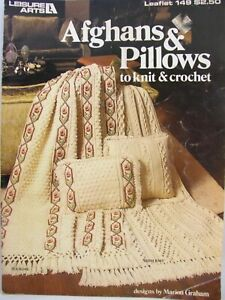 1979 Afghans & Pillows To Knit and Crochet Leisure Arts Leaflet 149 Fair Isle