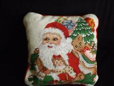 "Christmas Santa & Toys Needlepoint Decorative Pillow 13"" Square Wool"