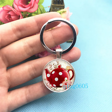 Polka Dot Teapot Art Photo Tibet Silver Key Ring Glass Cabochon Keychains -411