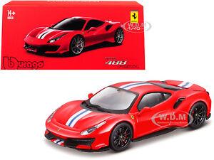 FERRARI 488 PISTA RED W/STRIPES SIGNATURE SERIES 1/43 DIECAST CAR BBURAGO 36910