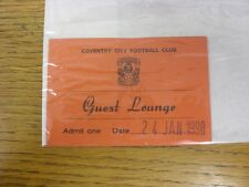 24/01/1998 Ticket: Coventry City v Derby County [FA Cup] [Guest Lounge] (folded)