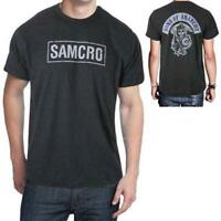 Sons Of Anarchy SAMCRO SOA Reaper Patch Licensed Men's Biker T-Shirt Dark Gray