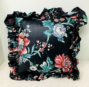 """English Floral Chintz Pillow Black w Floral Leaf Butterfly 18 """" SQ w Ruffle"""