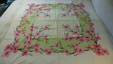 Vintage Cotton Tablecloth SHADES OF PINK FLORAL, BROWN CENTER, ON CHARTREUSE