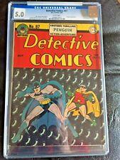 DETECTIVE COMICS #87 CGC VG/FN 5.0; White pg!; classic Sprang Penguin cvr!