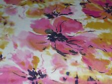 ITALIAN SPLASH FLORAL PRINT SATIN-IVORY/PINK/GOLD/NAVY  -DRESS FABRIC-FREE P&P