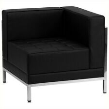 Flash Furniture Hercules Imagination Leather Tufted Right Corner Chair in Black