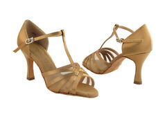 Salsera 16612 Brown Satin ballroom Rumba Mambo Latin Dance Shoes heel 3 Size 7