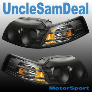 FOR 99-04 FORD MUSTANG CLEAR PROJECTOR BLACK HOUSING HEADLIGHTS DIRECT FIT PAIR