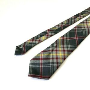 Green Plaid 100% Pure New Wool Men's neck tie Made in Scotland