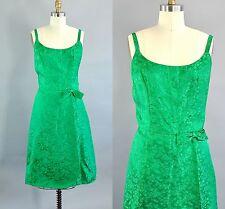 Vintage 1960s Size Large Handmade Green Floral Brocade Strap Wrap Dress.