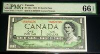 WORLD FAMOUS DEVILS FACE $1 BANK OF CANADA  1954   B/A Prefix  PMG 66  GEM UNC
