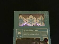 10 Snowflake LED Dancing Lights Battery Operated Indoor 9' Holiday Time
