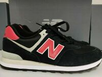 New Balance 574 Mens Classic Suede Sneakers Black Red
