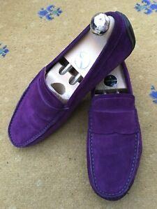 Gucci Mens Shoes Purple Suede Loafers UK 6.5 US 7 40.5 Drivers Script