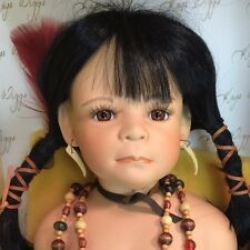 "Artist Int. LE Kaye Wiggs Native American Little Feather BIG 23"" Porcelain Doll"