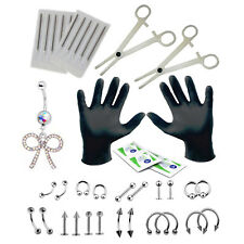 36PC Body Piercing Kit Bow Belly Rings Tongue Tragus Eyebrow Lip Nose 16G and...