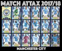 MATCH ATTAX 2017/18 FULL 18 CARD TEAM SET MANCHESTER CITY
