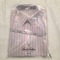 Brooks Brothers Men's Dress Shirt Extra Slim Fit Non-Iron Size 16-35 Striped