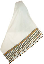 White Handwoven Shawl Large Wool Stole Hand Loomed in Kutch India with Gold Grey