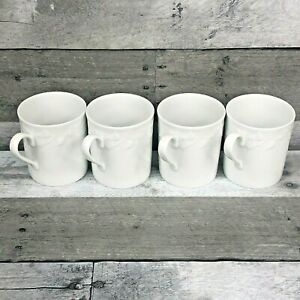 Set of (4) Vintage Lierre Sauvage White Ivy Mugs Limoges France Coffee Cups